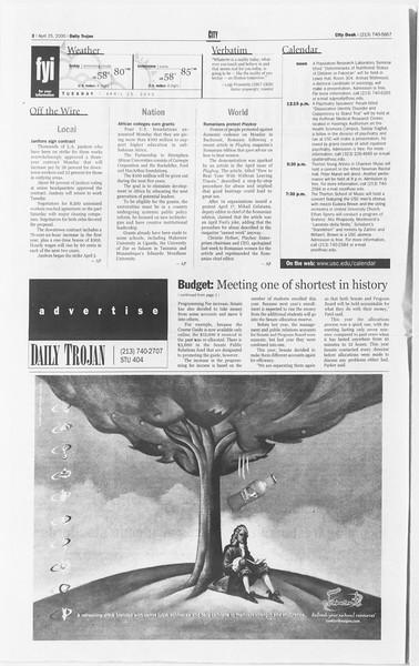 Daily Trojan, Vol. 139, No. 65, April 25, 2000