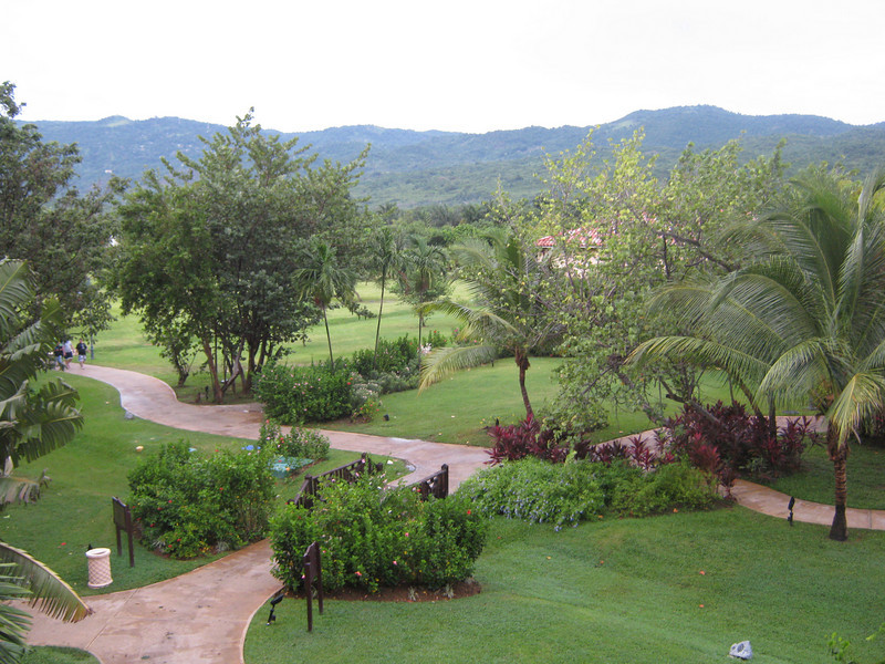 View from the back of our hotel room, overlooking the grounds.