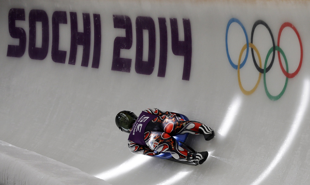 . Hidenari Kanayama of Japan completes a training run in the men\'s luge singles ahead of the 2014 Winter Olympics, Tuesday, Feb. 4, 2014, in Krasnaya Polyana, Russia. (AP Photo/Natacha Pisarenko)