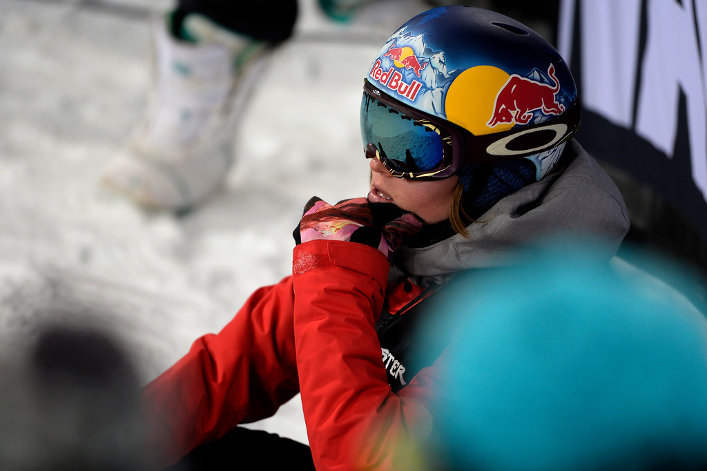 . Arielle Gold reacts to her score during the women\'s snowboard half pipe final. Winter X Games on Saturday, January 24, 2015. (Photo by AAron Ontiveroz/The Denver Post)