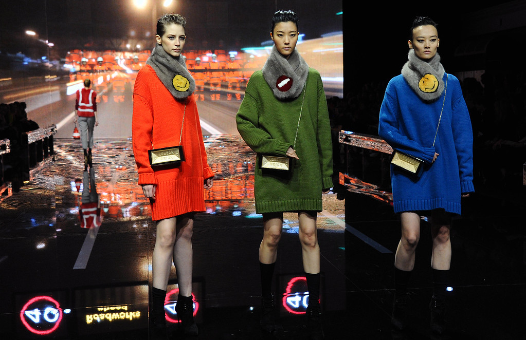 . Models walk the runway presenting handbags and accessories at the Anya Hindmarch show during London Fashion Week Fall/Winter 2015/16 at  on February 24, 2015 in London, England.  (Photo by Stuart C. Wilson/Getty Images)