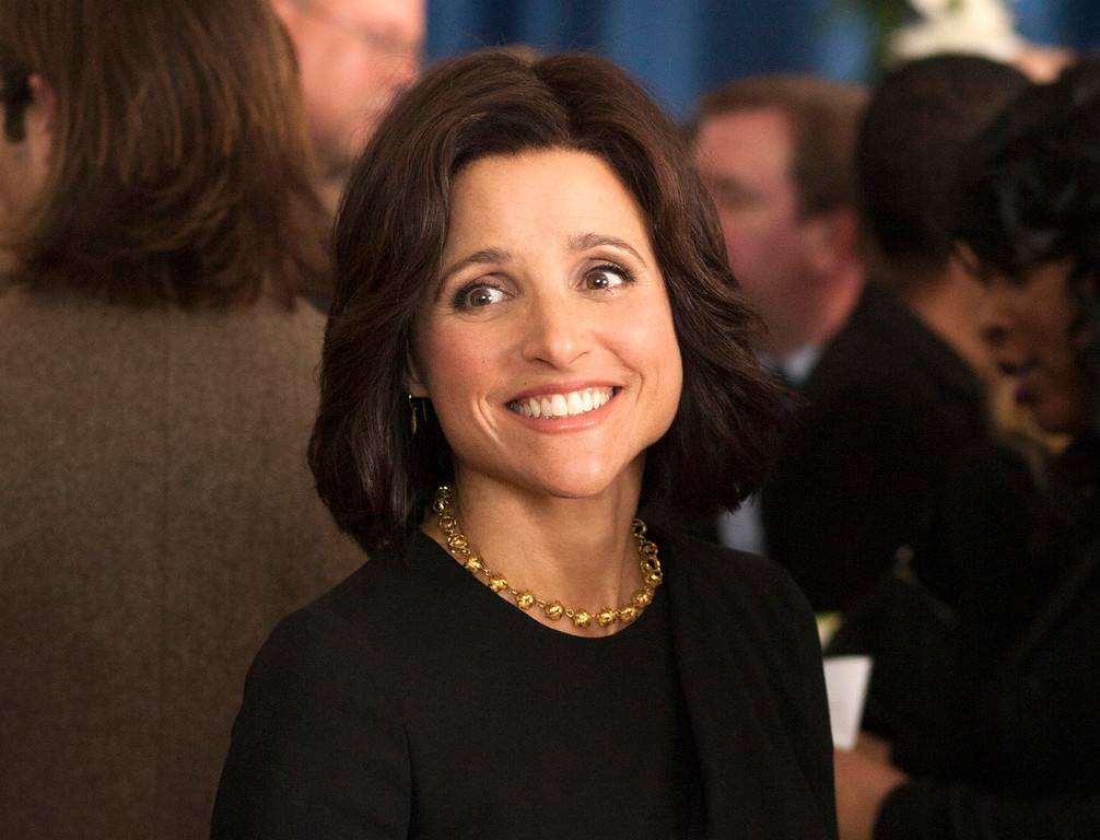 """. In this image released by HBO, Julia Louis-Dreyfus appears in a scene from \""""Veep.\""""  Louis-Dreyfus was nominated for a Golden Globe for best actress in a comedy series for her role on the show on Thursday, Dec. 11, 2014. The 72nd annual Golden Globe awards will air on NBC on Sunday, Jan. 11. (AP Photo/HBO, Paul Schiraldi)"""