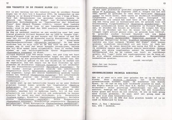 Een vakantie in de Franse Alpen, Nederlandse Rotsplanten Werkgroep Nieuwsbrief 25 and 26, November 1991 and February 1992, Kees Jan van Zwienen