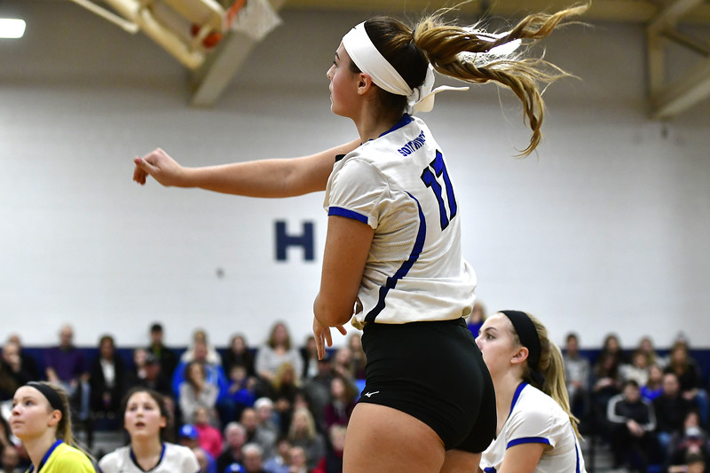 11/10/2018 Mike Orazzi | Staff Southington High School's Brooke Cooney (17) during the Class LL Quarterfinal Girls Volleyball Tournament in Southington Saturday.