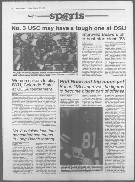 Daily Trojan, Vol. 107, No. 38, October 28, 1988
