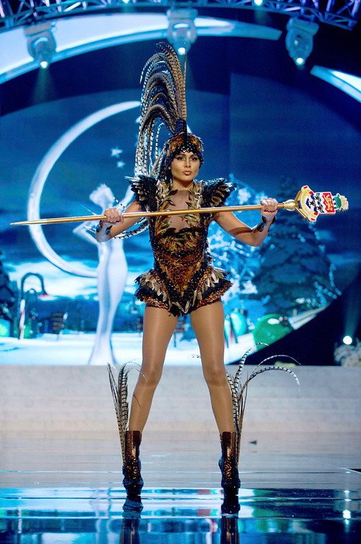 . Miss Cayman Islands Linsday Japal performs onstage at the 2012 Miss Universe National Costume Show at PH Live in Las Vegas, Nevada December 14, 2012. The 89 Miss Universe Contestants will compete for the Diamond Nexus Crown on December 19, 2012. REUTERS/Darren Decker/Miss Universe Organization/Handout