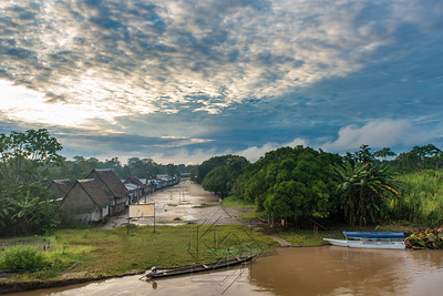 Wide view of Village along the Rio Samiria Amazon at Dawn