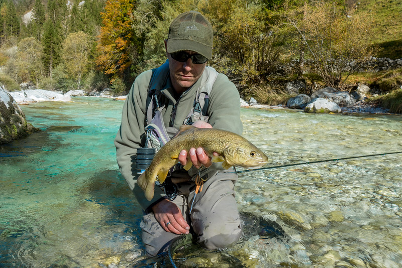 Rok Lustrik with a fine Soca marble taken on dry fly