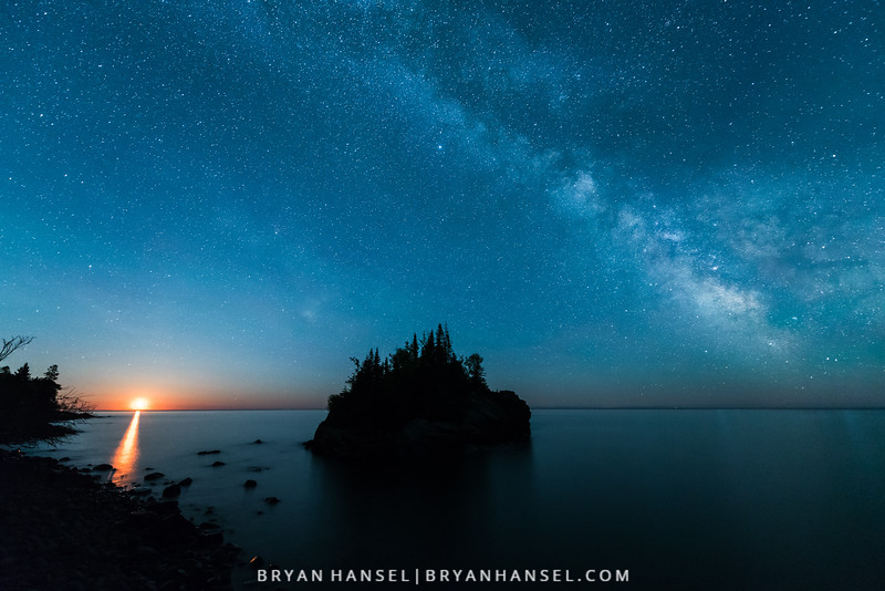 Milky Way, The Rock and a Quarter Moon