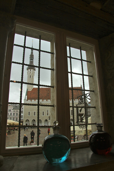 Inside the Town Hall Pharmacy looking out at Town Hall -Tallinn, Estonia
