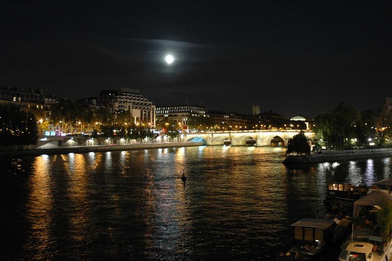 September 2012 Full moon over the River Seine in Paris