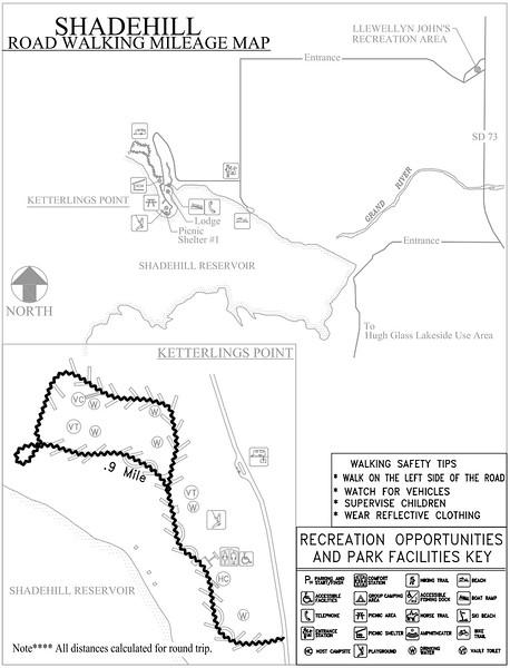Shadehill Recreation Area (Road Walking Map)