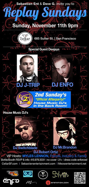 Replay Sundays @ The Cellar -SF 11.11.12