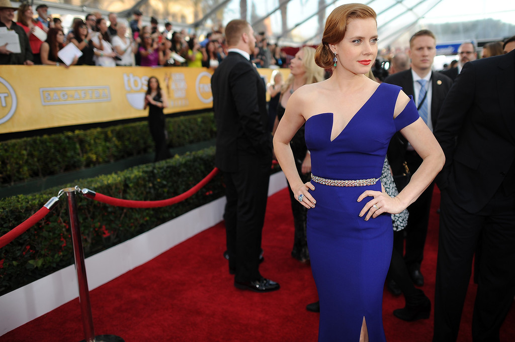 . Amy Adams on the red carpet at the 20th Annual Screen Actors Guild Awards  at the Shrine Auditorium in Los Angeles, California on Saturday January 18, 2014 (Photo by Hans Gutknecht / Los Angeles Daily News)
