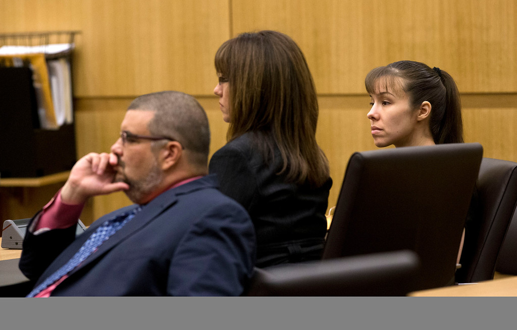 . Jodi Arias, right, and her defense attorneys Jennifer Wilmott and Kirk Murmi, left,  listen as Judge Sherry Stephens urges the jury to continue deliberating after the jury delivered a message that they are deadlocked on Wednesday, May 22, 2013 during the penalty phase of her murder trial at Maricopa County Superior Court in Phoenix.  Arias was convicted of first-degree murder in the stabbing and shooting to death of Travis Alexander. (AP Photo/The Arizona Republic, Rob Schumacher, Pool)