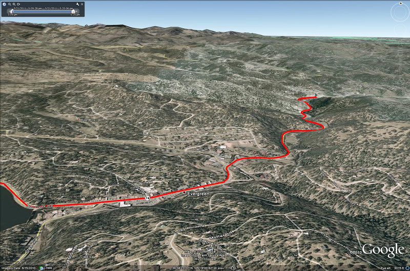 (5/21) Here is a topographical view (more Google Earth) of the drive between Evergreen, CO and the cabin we stayed at.  As you can see, it was in a nice little valley.  The road followed Bear Creek through the valley.