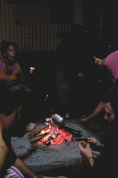 Day 2 trek to Lake Atitlan. Teaching the non-Americans how to make smores at our homestay. September 2018.