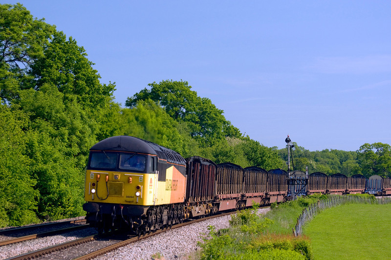 56094 with the 07:13 Chirk  to Baglan Bay empty logs. Seen here just north of tram Inn on the 7th of June 2013.