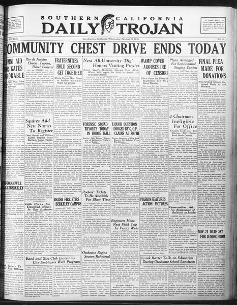 Daily Trojan, Vol. 22, No. 34, October 29, 1930