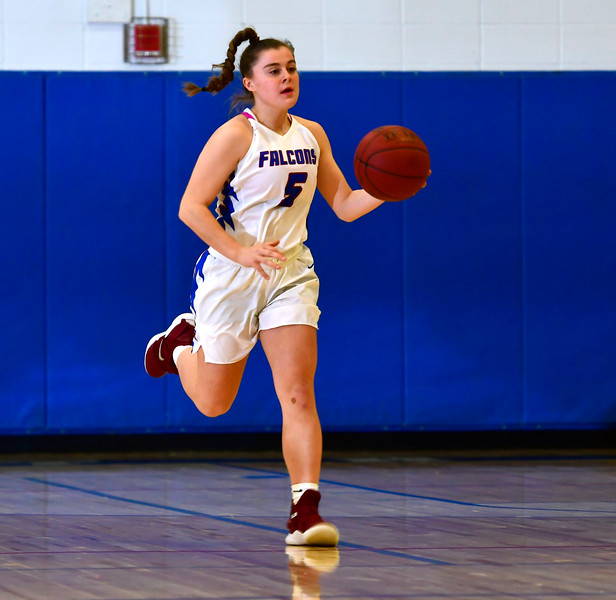 1/2/2019 Mike Orazzi | Staff St. Paul Catholic High School's Emma Cretella (5) during Wednesday night's girls basketball game with Sacred Heart in Bristol.