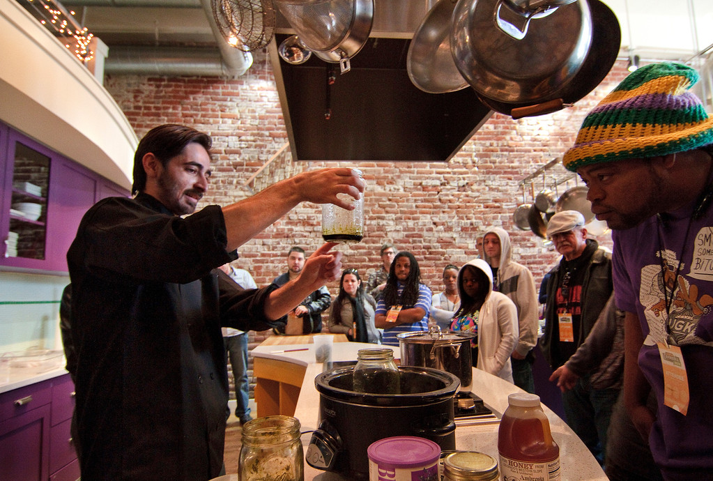 . Participants in a cannabis cooking class in Denver, Colorado, on Thursday, April 18, 2013, listen as chef Blaine Hein, left, discusses how infused cannabis is prepared and can be used in food recipies. According to organizers, the food infused with cannabis results in a greater and more-consistant THC effect. The class was one of three offered during World Cannabis Week. (Werner R. Slocum/MCT)
