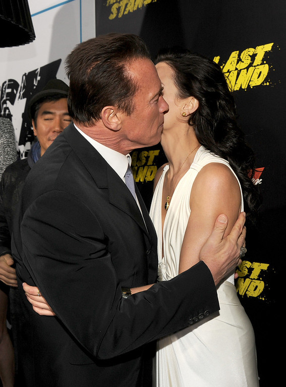 ". Actors Arnold Schwarzenegger (L) and Jaimie Alexander arrive at the premiere of Lionsgate Films\' ""The Last Stand\"" at Grauman\'s Chinese Theatre on January 14, 2013 in Hollywood, California.  (Photo by Kevin Winter/Getty Images)"