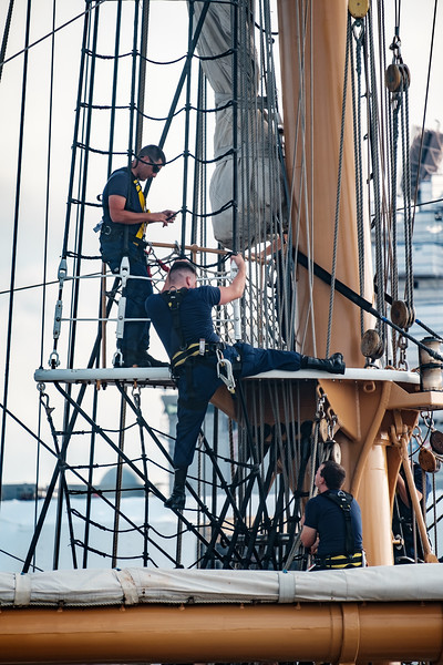 Coast Guard Cadets Learn to Climb The Rigging on the USCC Eagle