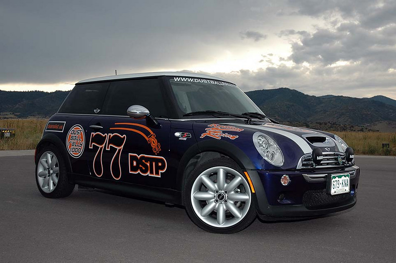 The MINI, shortly after I applied the multiple layer event and sponsor graphics. A cool day in Colorado, but we'll be heading into hot country soon.