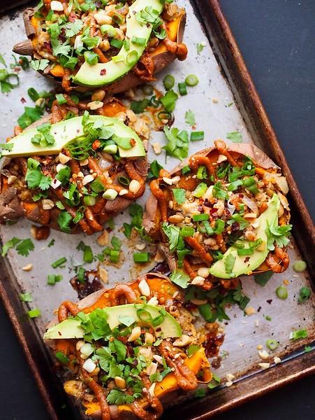 Thai Tempeh Stuffed Sweet Potatoes