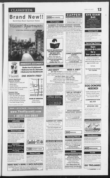Daily Trojan, Vol. 160, No. 59, April 16, 2007