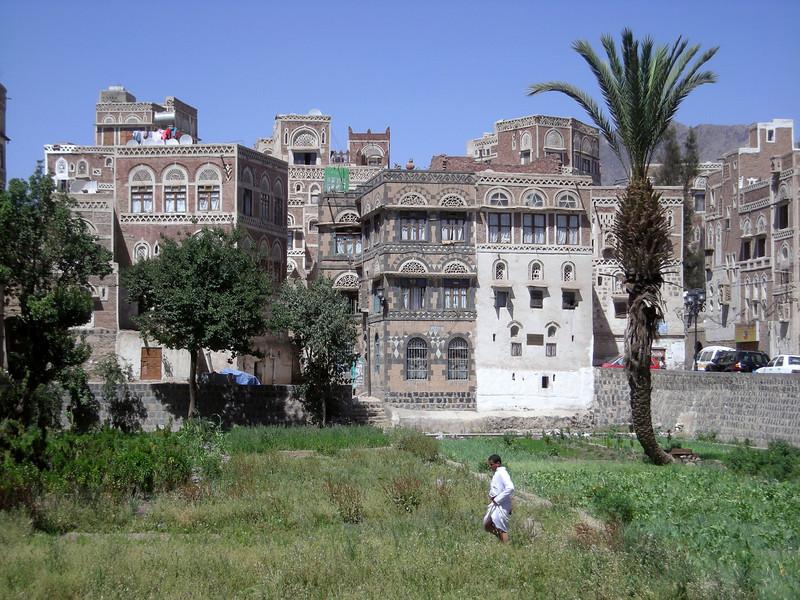 man in a community garden in old Sana'a