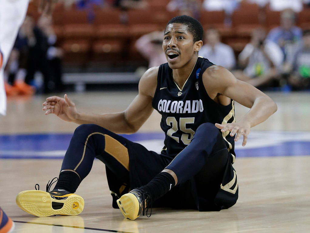 . Colorado\'s Spencer Dinwiddie reacts to what he thought was a foul during the second half of a second-round game of the NCAA men\'s college basketball tournament Friday, March 22, 2013, in Austin, Texas. Illinois defeated Colorado 57-49. (AP Photo/Eric Gay)