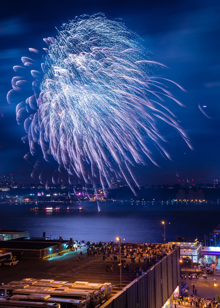 Fireworks over the Hudson River on the Fourth of July 2013.