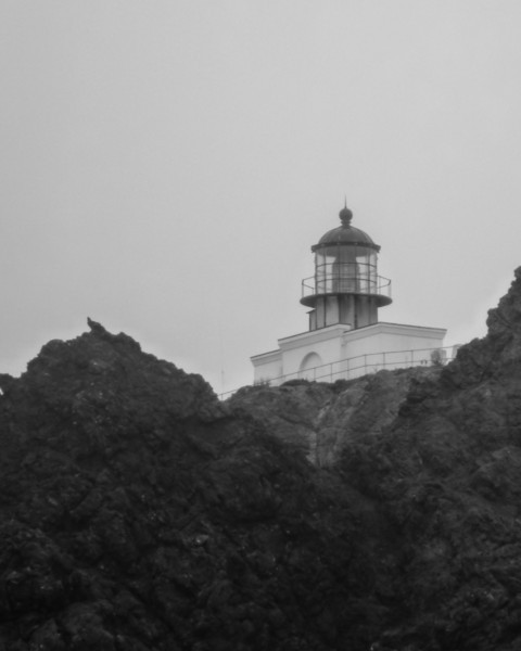 The Point Bonita lighthouse, built in 1855, was moved to this spot in 1877, and fitted with a steam siren in 1874, which has since been replaced by an electric horn.