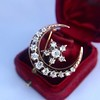 1.40ctw Victorian Rose Gold Crescent and Star Ray Brooch/Pendant 15