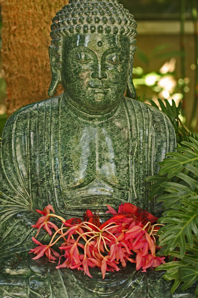 Buddha with orchids (Selby Botanical Gardens, Sarasota Fl)