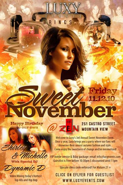 Luxy Events presents SWEET NOVEMBER @ ZEN Lounge 11.12.10