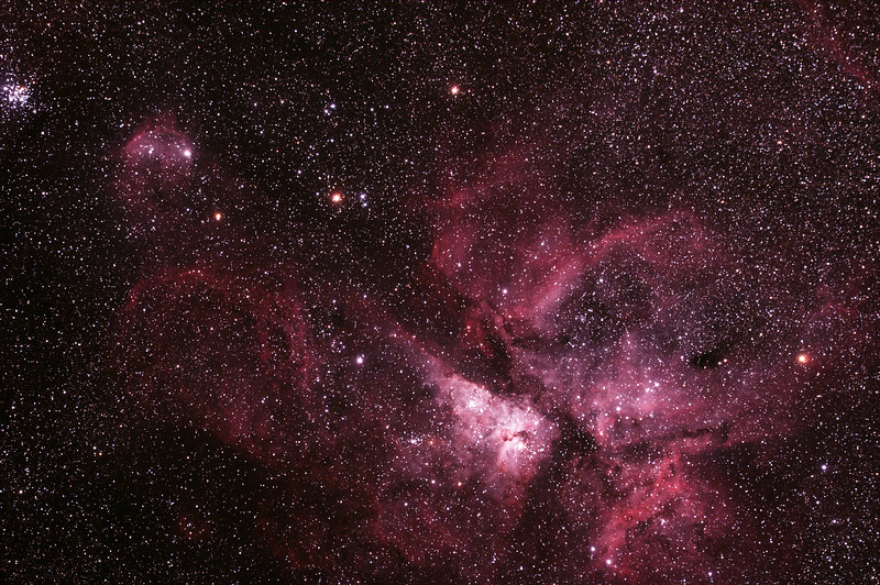 Caldwell 92 Eta Carinae Neblua with  NGC3324/IC2599 Gum 31 Galactic Nebula and NGC3293 The Little Jewel Box - 1/2/2014 (Processed stack)