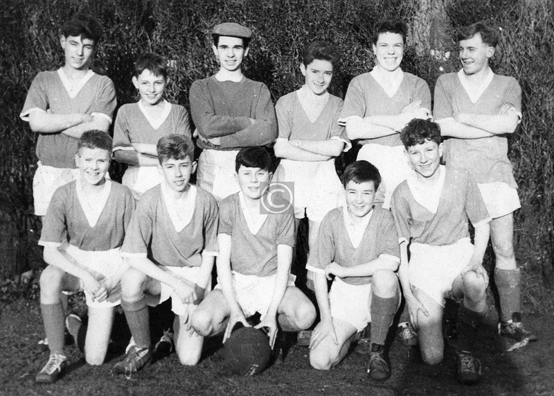 113th BB Company football team, in the grounds of Queen's Park High church in Queen's Drive. I was in the back row, third from the right.    The jerseys had been donated by Third Lanark A.C.  April 1962