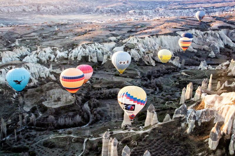 Colorful balloons flying over Cappadocia