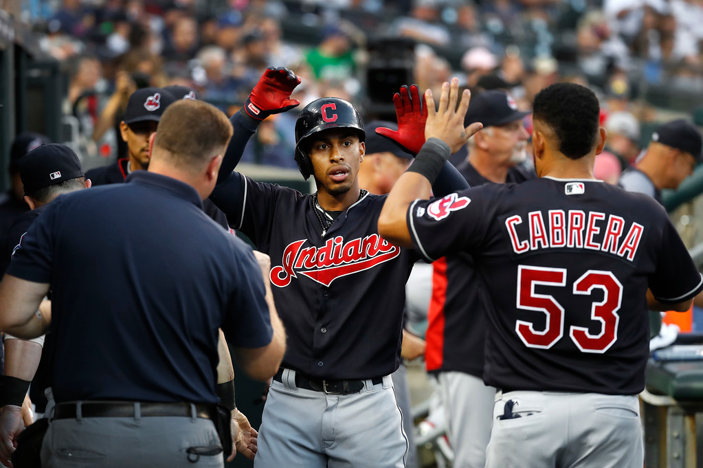 . Cleveland Indians\' Francisco Lindor celebrates his two-run home run against the Detroit Tigers in the fifth inning of a baseball game in Detroit, Friday, July 27, 2018. (AP Photo/Paul Sancya)