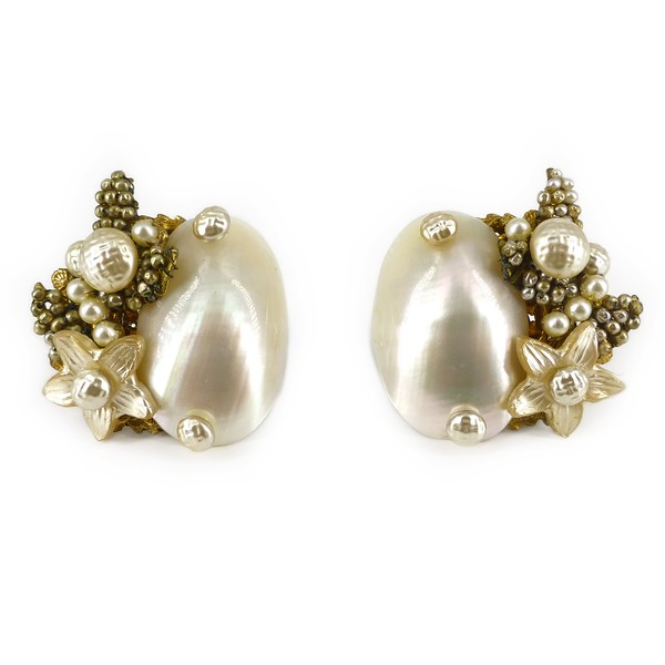 Vintage Mid Century Miriam Haskell Shell & Faux Pearl Clip On Earrings