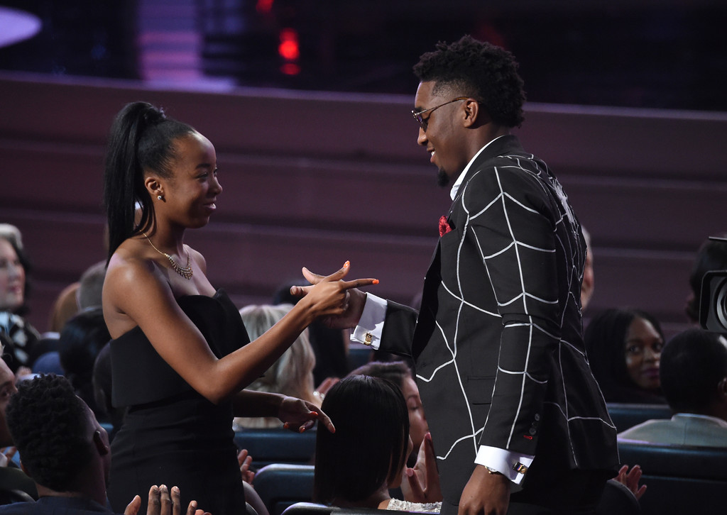 . Utah Jazz\'s Donovan Mitchell, right, wins the award for best breakthrough athlete at the ESPY Awards at Microsoft Theater on Wednesday, July 18, 2018, in Los Angeles. (Photo by Phil McCarten/Invision/AP)