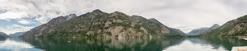 The view across Lake Stehekin looking south to north
