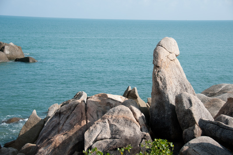 Rock formation with an overlooking view of the sea - Ko Samui, Thailand