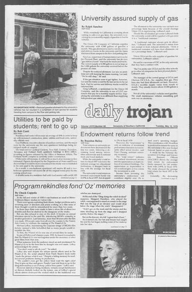 Daily Trojan, Vol. 76, No. 60, May 15, 1979