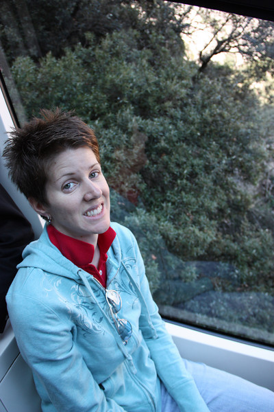 Riding a funicular up one of the mountains.  I look scared, but I wasn't.