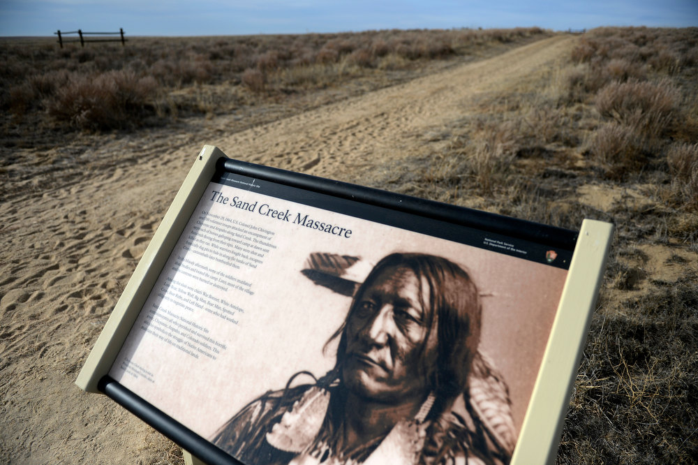 . A descriptive sign with a picture of a Cheyenne Chief on it  greets visitors of the Sand Creek Massacre National Historic site in Kiowa County near Eads Colorado November 28th. 2012. On November 29th, 1864, Colorado militiamen killed over 150 Cheyenne and Arapaho Indians at the site who were living peacefully along the creek in their village. The Denver Post/ Andy Cross