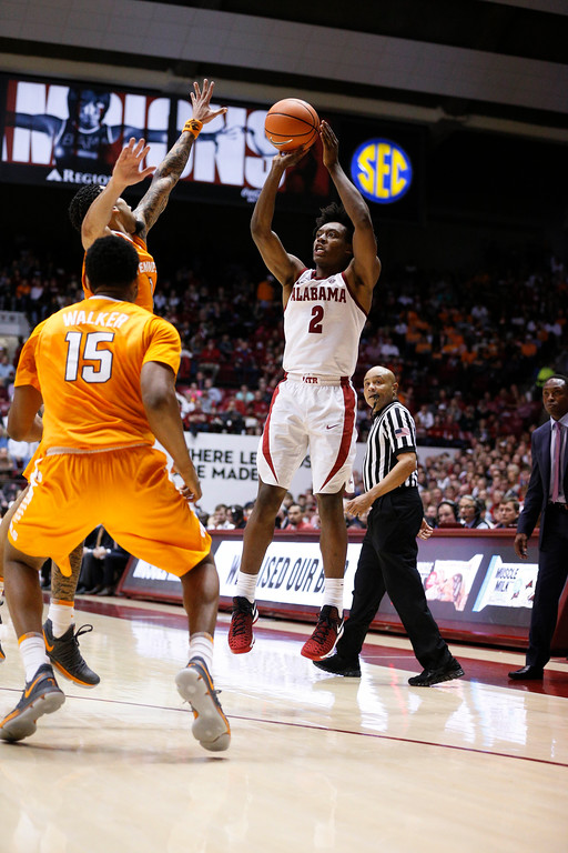 . Alabama guard Collin Sexton (2) shoots and scores against Tennessee during the second half of an NCAA college basketball game on Saturday, Feb. 10, 2018, in Tuscaloosa, Ala. Alabama won 78-50. (AP Photo/Brynn Anderson)