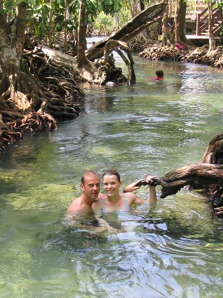 Swimming in a jungle stream